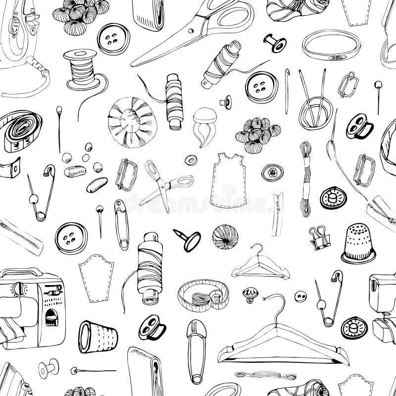 Modèle sans couture monochrome avec des articles pour la couture Croquis graphique tiré par la main de différents éléments d'isol illustration stock