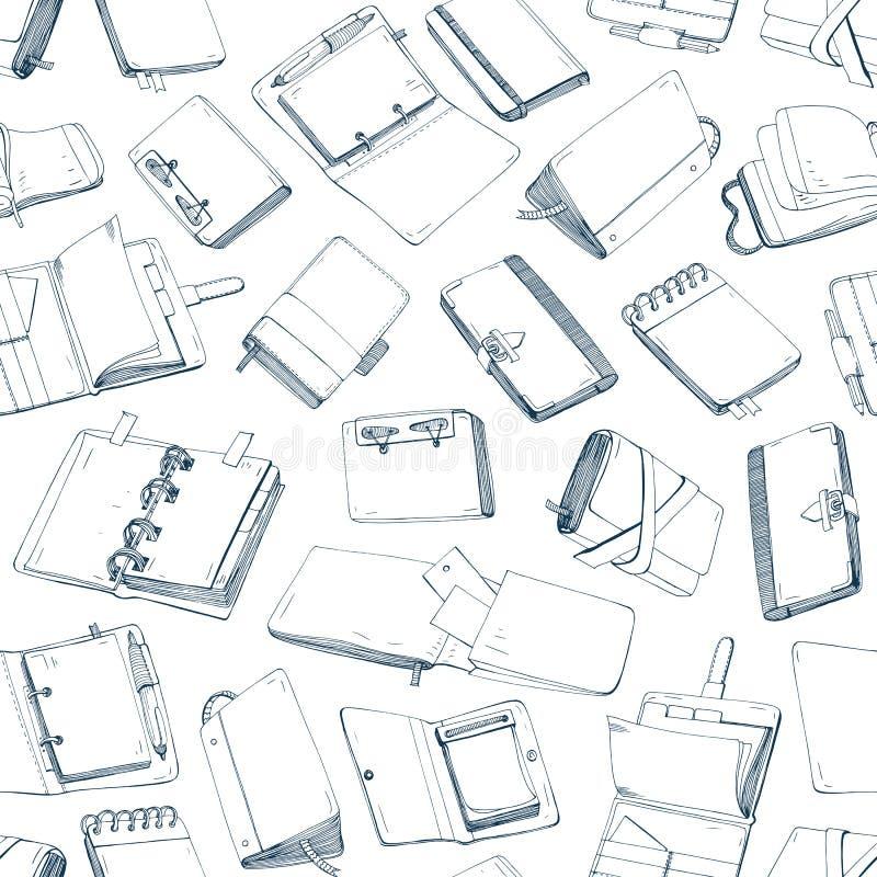 Modèle sans couture monochrome avec des blocs-notes, carnets, journaux intimes, carnets à dessins tirés par la main avec des cour illustration libre de droits