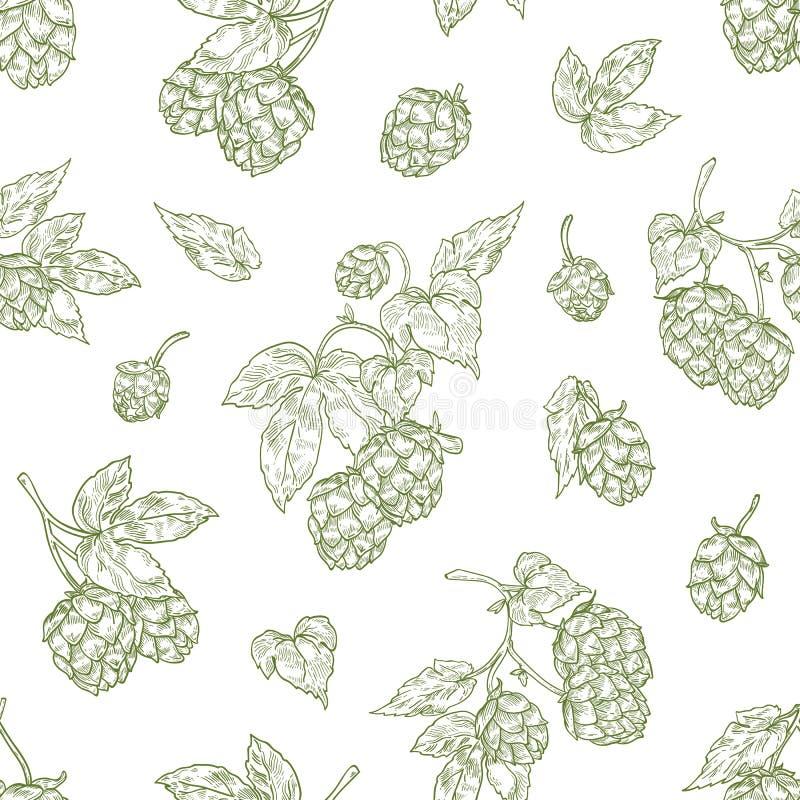 Modèle sans couture monochrome avec des bourgeon floraux d'houblon tirés par la main avec des courbes de niveau sur le fond blanc illustration libre de droits