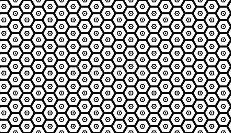 Modèle sans couture monochrome avec des hexagones, nids d'abeilles Illustration répétitive de vecteur illustration libre de droits