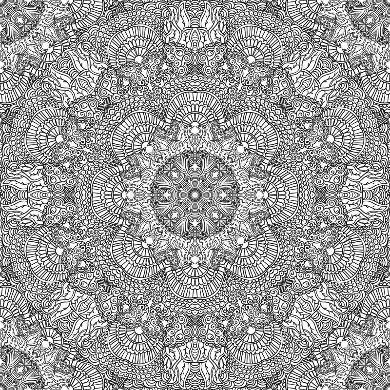 Modèle sans couture monochrome dans le style ethnique Ornement noir tiré par la main de griffonnage sur un fond blanc illustration libre de droits
