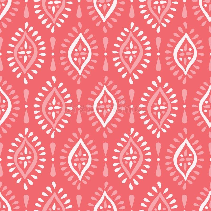 Modèle sans couture monochrome de Coral Boho Handdrawn Diamonds Vector Fond traditionnel ethnique élégant de blanc et de rose illustration de vecteur