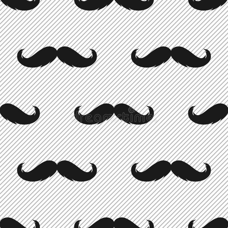 Modèle sans couture monochrome de moustache de hippie illustration stock