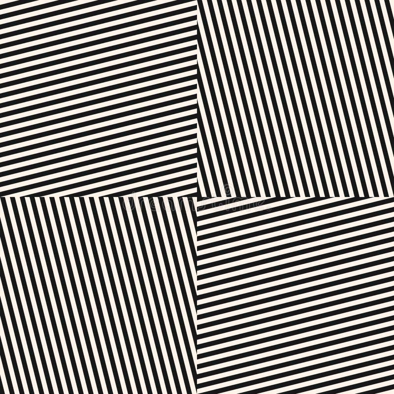 Modèle sans couture monochrome de vecteur avec les rayures diagonales, lignes, tuiles carrées illustration libre de droits