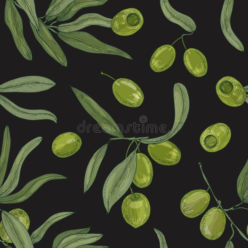 Modèle sans couture naturel avec des branches d'olivier, des feuilles, des fruits crus organiques verts ou des drupes sur le fond illustration de vecteur