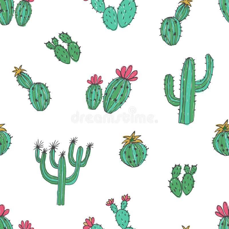 Modèle sans couture naturel avec le cactus vert tiré par la main sur le fond blanc Usines de désert mexicaines de floraison botan illustration de vecteur