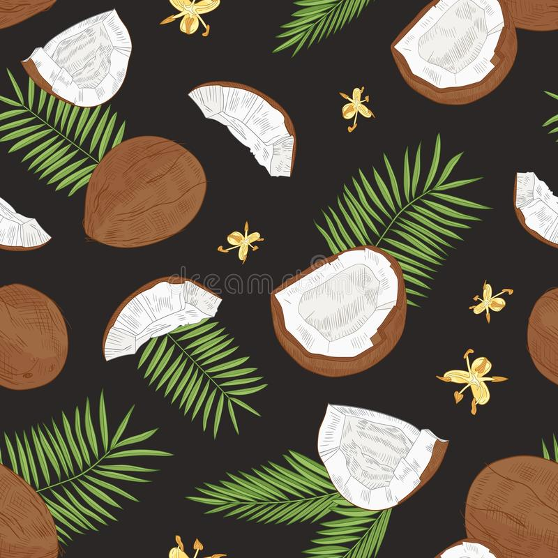 Mod?le sans couture naturel avec les noix de coco enti?res et de fente, les fleurs et les palmettes exotiques sur le fond noir tr illustration de vecteur