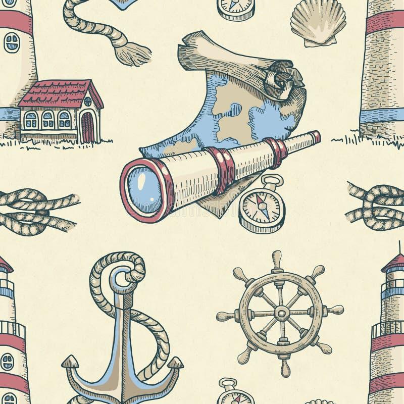 Modèle sans couture nautique illustration de vecteur