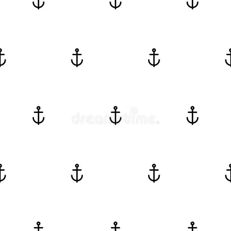 Modèle sans couture nautique avec les ancres noires sur le blanc Ornement de style de bateau et de bateau illustration de vecteur