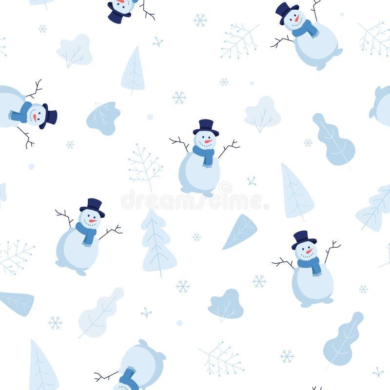 Modèle sans couture neigeux d'hiver avec des bonhommes de neige et des flocons de neige, éléments de parc, arbres, buissons en te illustration de vecteur