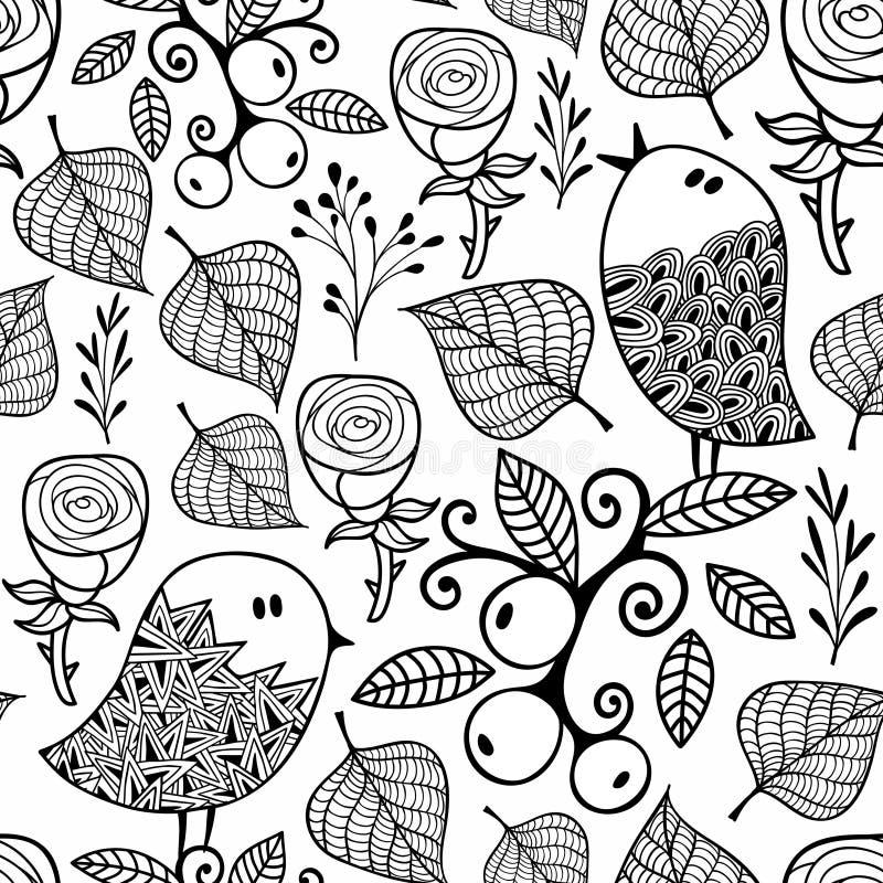 Modèle sans couture noir et blanc avec des éléments de nature de griffonnage illustration libre de droits