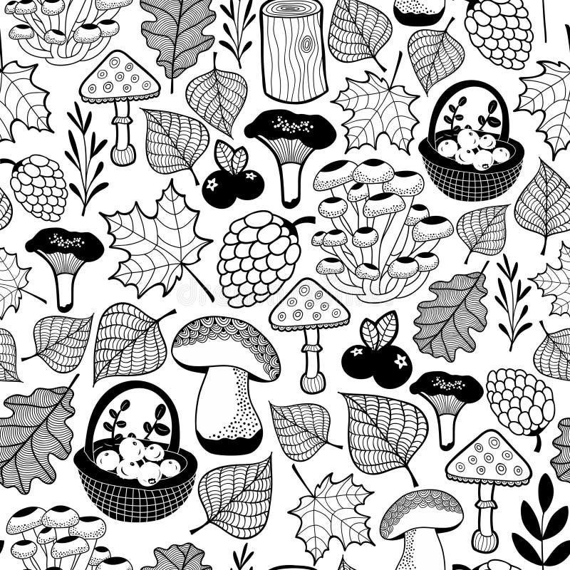 Modèle sans couture noir et blanc avec des cadeaux de forêt d'automne illustration libre de droits