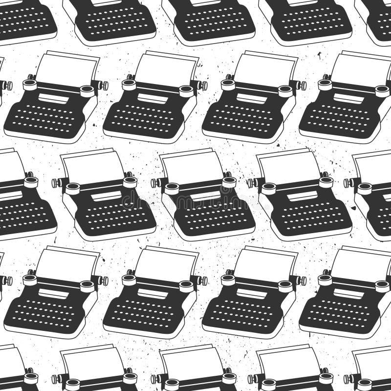 Modèle sans couture noir et blanc avec les machines à écrire, feuilles de papier Fond décoratif, objets pour l'inscription illustration stock