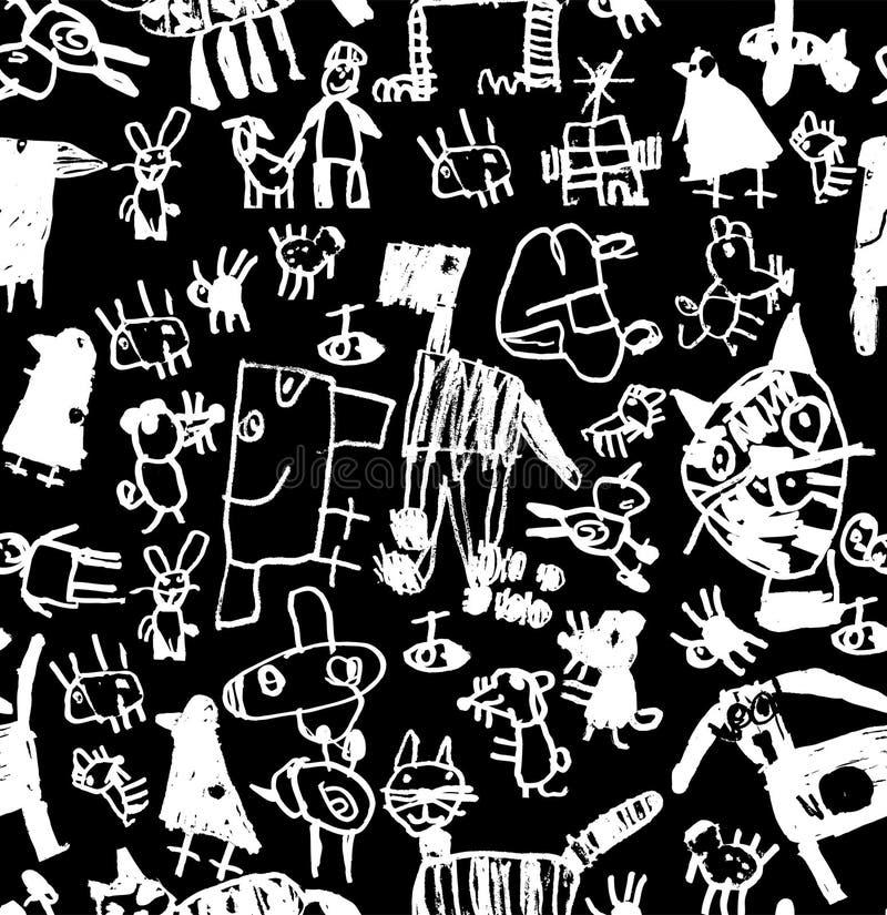Modèle sans couture noir et blanc de craie d'aspiration de griffonnages d'enfants illustration libre de droits