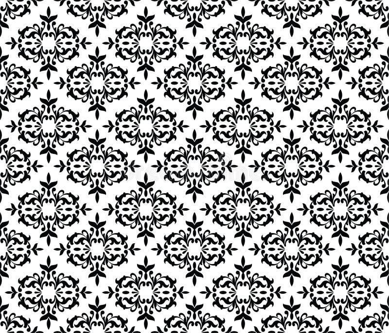 Papier peint floral sans couture noir et blanc illustration libre de droits