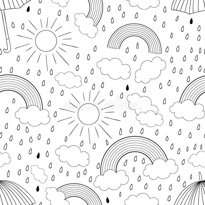 Mod?le sans couture noir et blanc de vecteur avec l'arc-en-ciel illustration stock