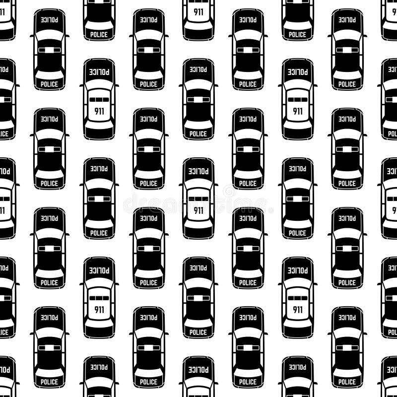 Modèle sans couture noir et blanc de voitures de police illustration libre de droits