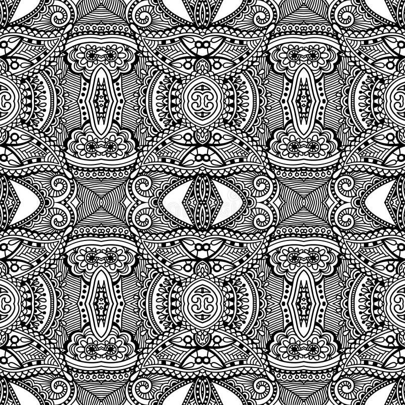 Modèle sans couture noir et blanc, dessin de main illustration de vecteur
