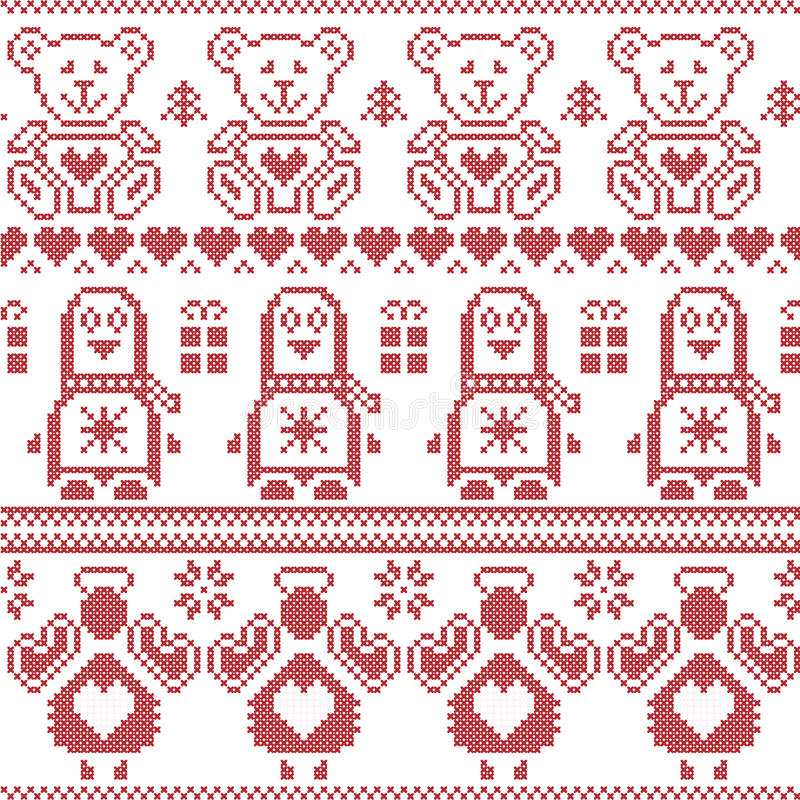 Modèle sans couture nordique de Noël scandinave de vintage avec le pingouin, ange, ours de nounours, cadeaux de Noël, coeurs, orn illustration stock