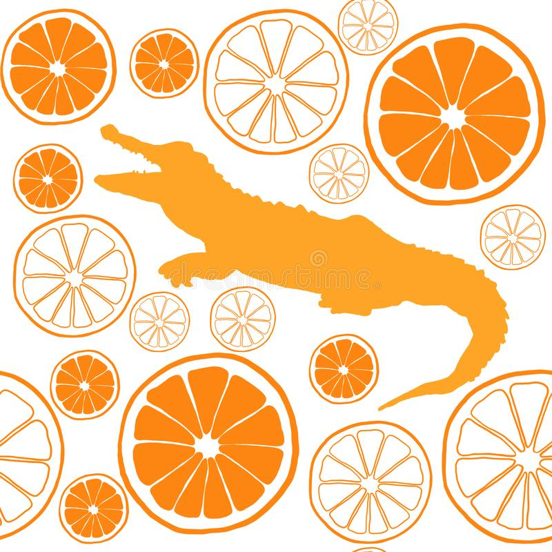 Modèle sans couture orange d'aquarelle avec le crocodile illustration libre de droits