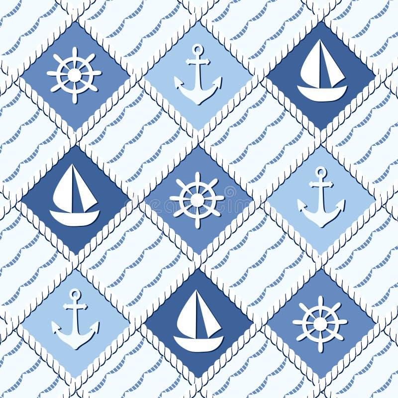 Modèle sans couture orienté marin avec des ancres illustration de vecteur