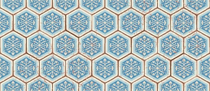 Modèle sans couture oriental de vecteur Marocain réaliste de vintage, tuiles hexagonales portugaises illustration libre de droits