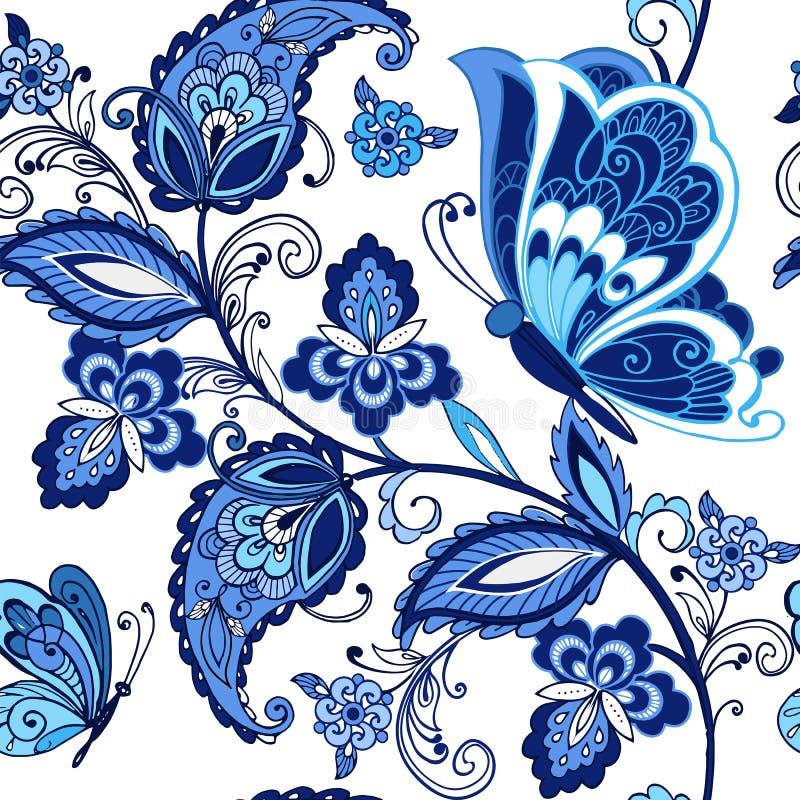 Modèle sans couture oriental traditionnel de Paisley Le vintage fleurit l'ornement avec des papillons dans des couleurs bleues dé illustration de vecteur