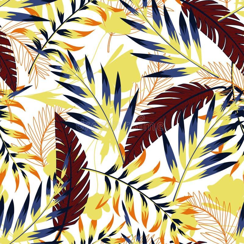 Modèle sans couture original lumineux d'été avec les feuilles et les usines tropicales sur le fond blanc Conception de vecteur Co illustration libre de droits