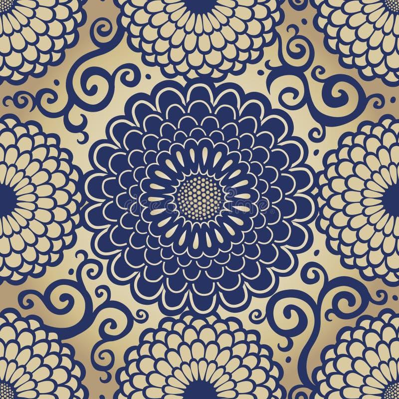 Modèle sans couture ornemental avec de grandes fleurs. illustration de vecteur