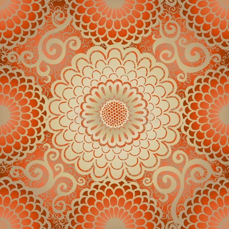 Modèle sans couture ornemental avec de grandes fleurs de cercle illustration libre de droits
