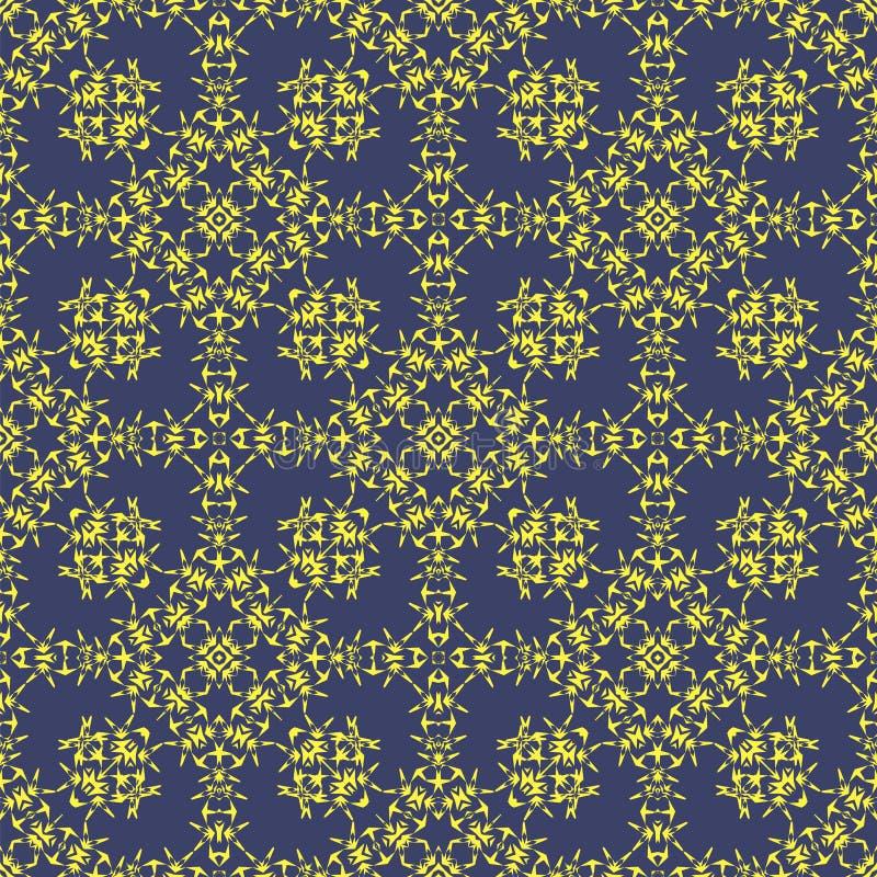 Modèle sans couture ornemental bleu jaune Texture sans fin Ornement géométrique oriental illustration libre de droits
