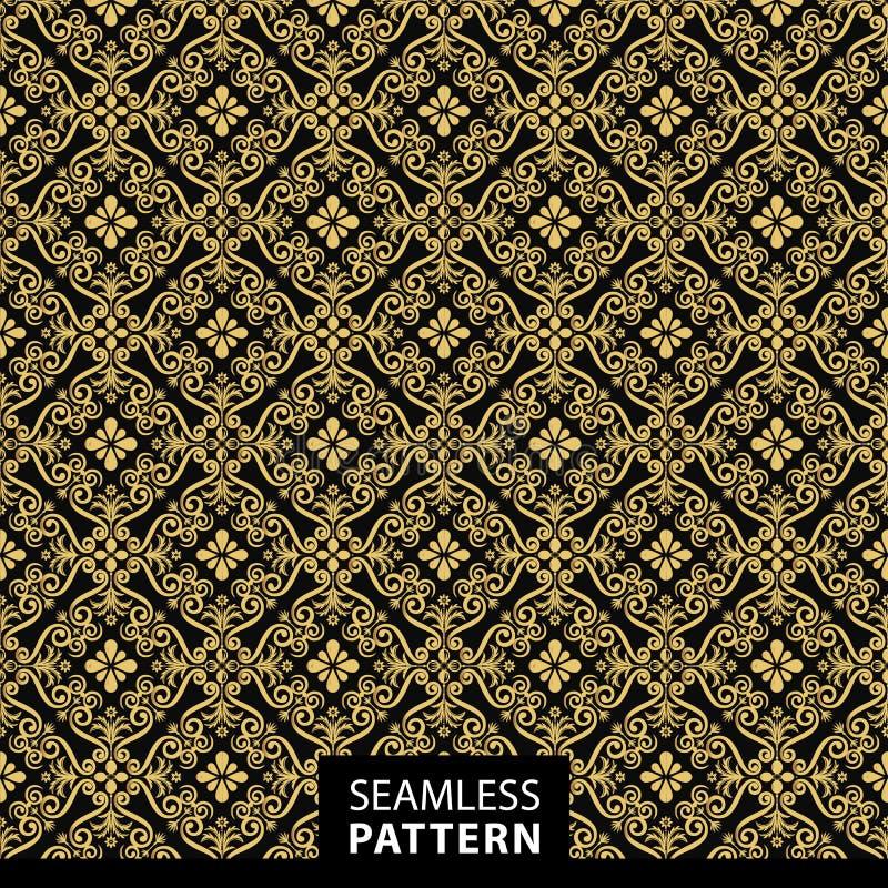 Modèle sans couture ornemental de luxe dans la couleur d'or illustration stock