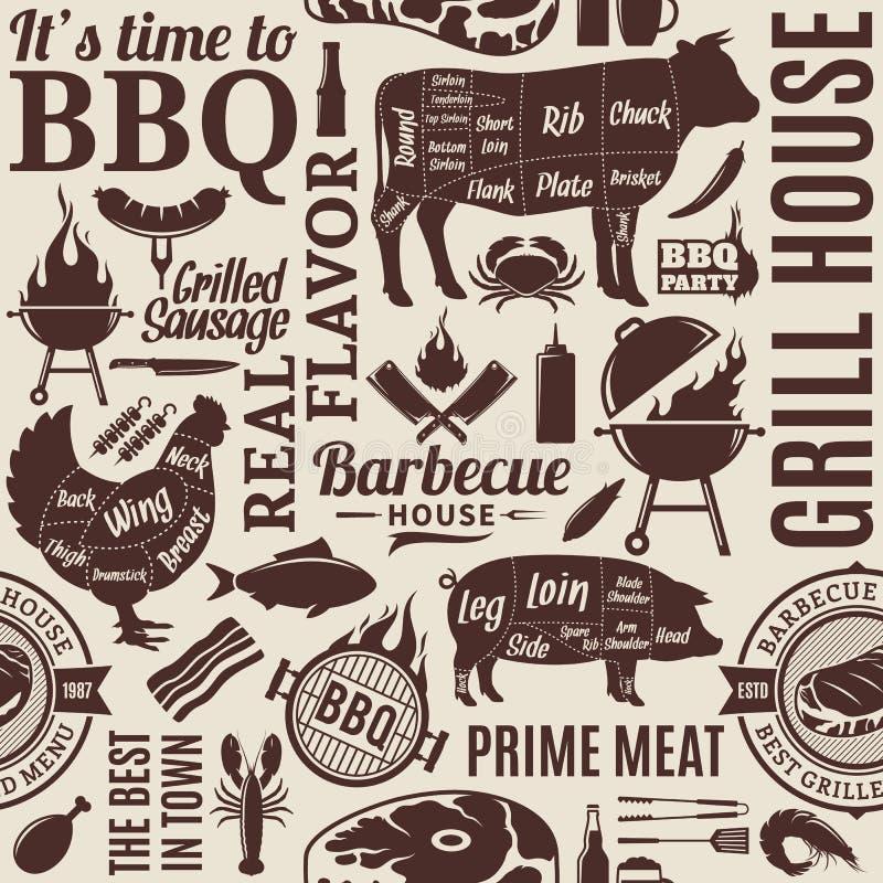 Modèle sans couture ou fond de barbecue typographique de vecteur illustration libre de droits