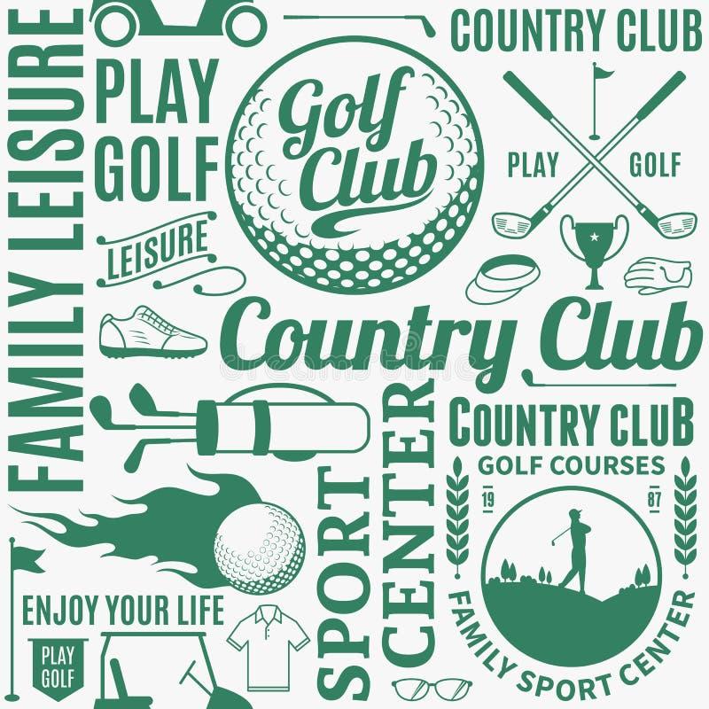 Modèle sans couture ou fond de golf typographique de vecteur illustration libre de droits