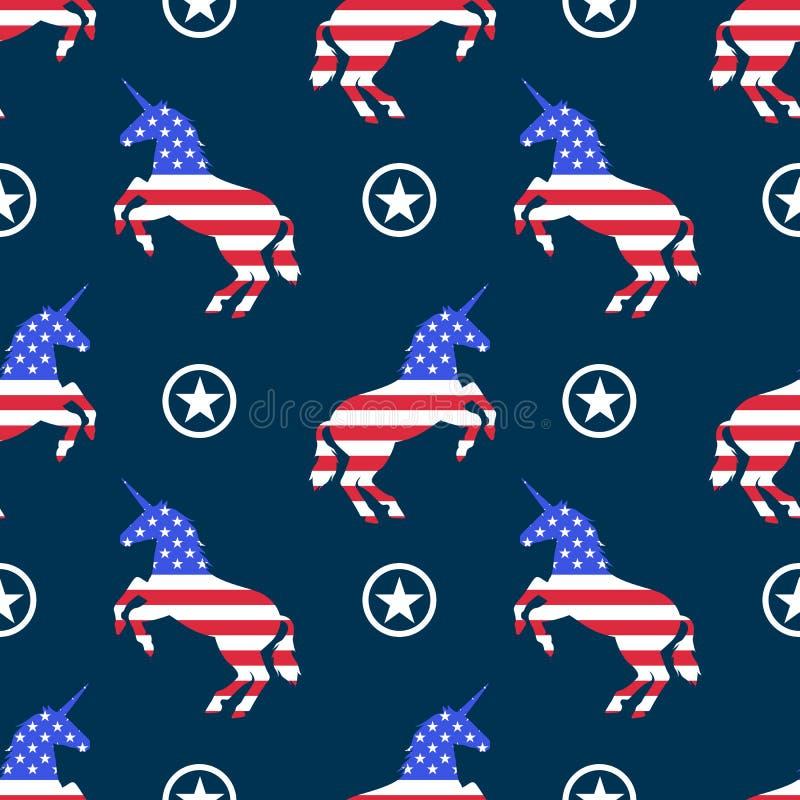 Modèle sans couture patriotique de licornes de drapeau des Etats-Unis images libres de droits