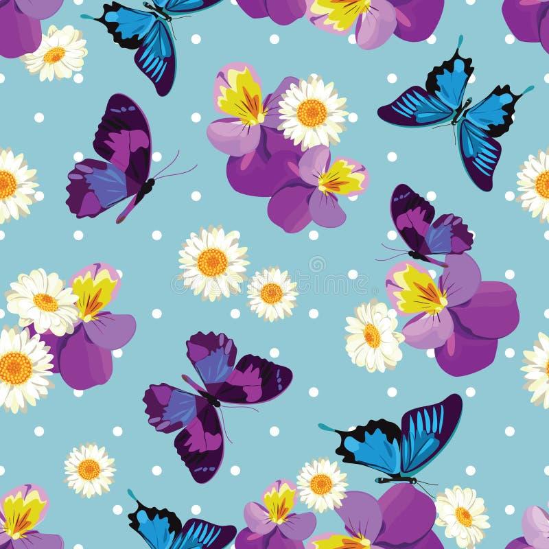 Modèle sans couture patternFloral sans couture floral Pensées avec des camomilles sur le fond bleu de point de polka Illustration illustration de vecteur