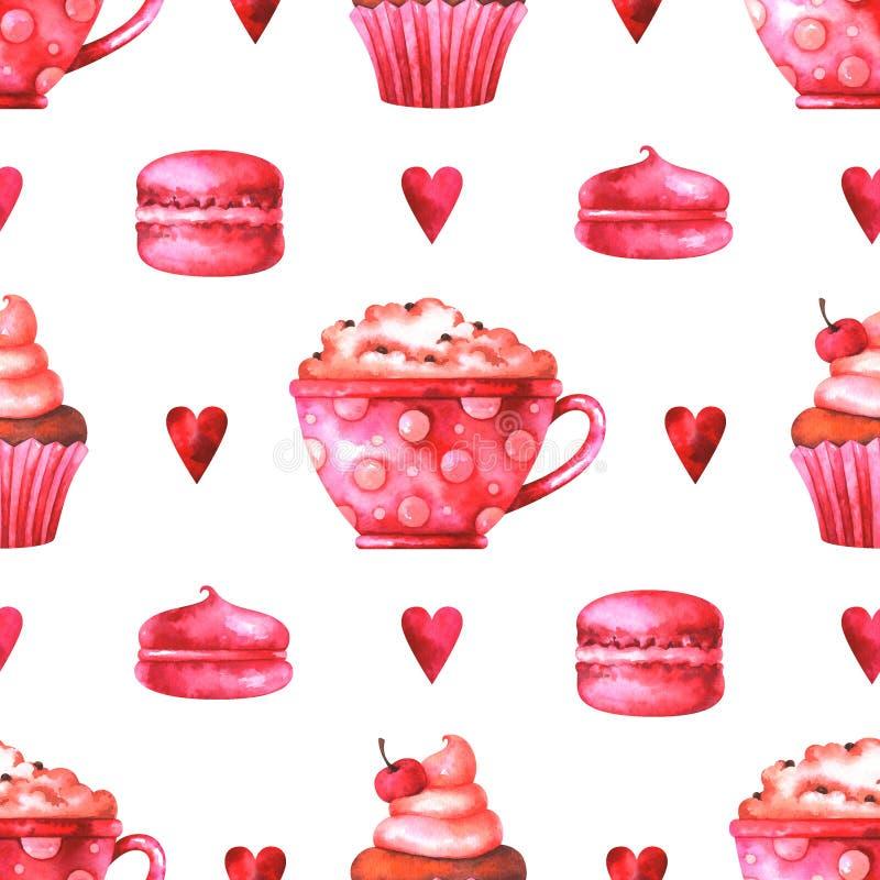 Modèle sans couture peint à la main avec la tasse d'aquarelle avec du café, le gâteau, les macarons, les guimauves et les coeurs illustration libre de droits
