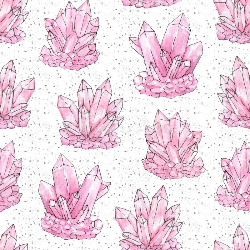 Modèle sans couture peint à la main de cristaux roses de groupe d'aquarelle et d'encre sur le fond étoilé blanc illustration libre de droits