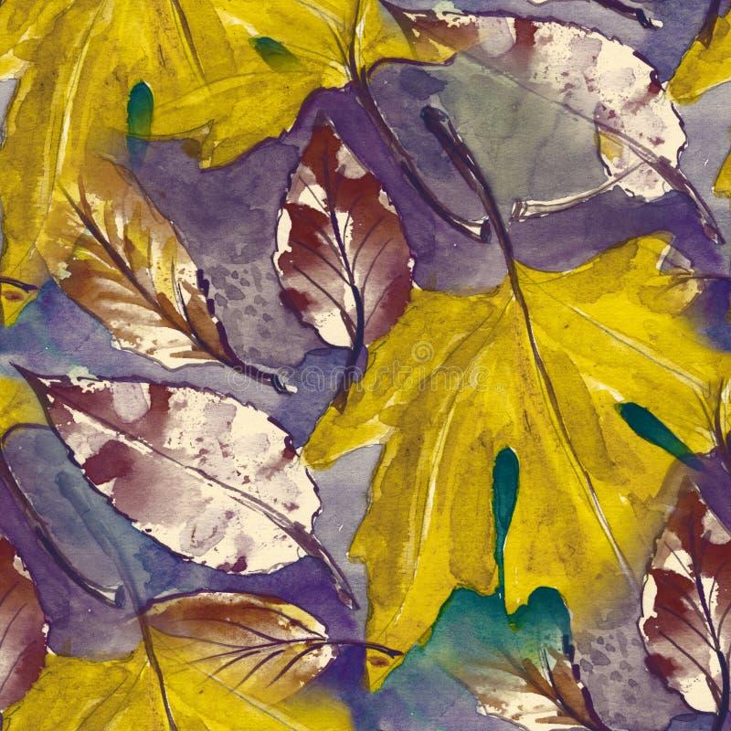 Modèle sans couture peint à la main Feuilles d'automne pour aquarelle bel élément de nature Illustration dessin numérique et illustration de vecteur