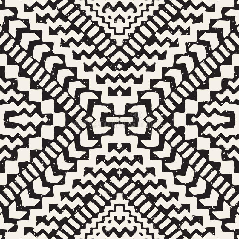 Modèle sans couture peint tiré par la main Fond tribal de conception de vecteur Motif ethnique Illustration au trait ethniques gé illustration de vecteur