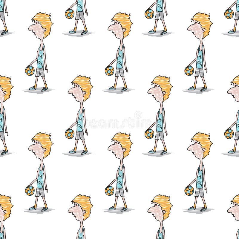 Modèle sans couture, personnage de dessin animé masculin de footballeur de griffonnage, illustration tirée par la main de vecteur illustration de vecteur