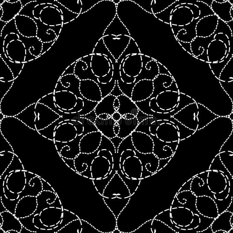 Modèle sans couture piquant de vecteur d'arabesque de cru de style Fond noir et blanc de damassé de broderie Filigrane de schéma  illustration stock