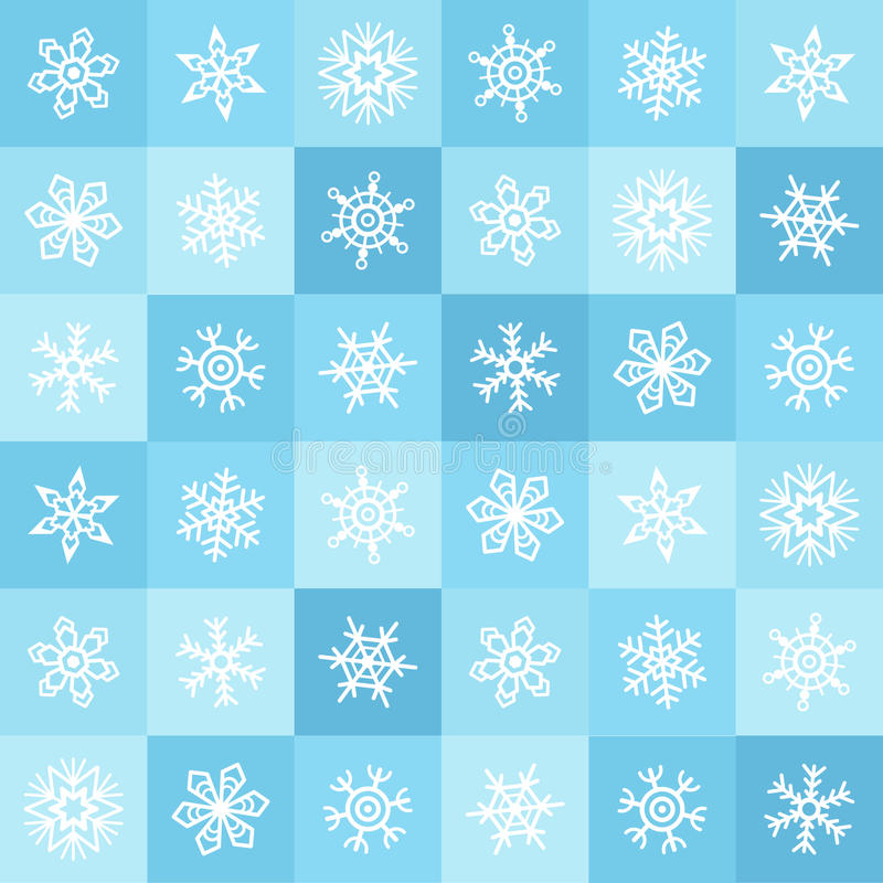 Modèle sans couture plat d'hiver de flocons de neige et de places de conception illustration libre de droits