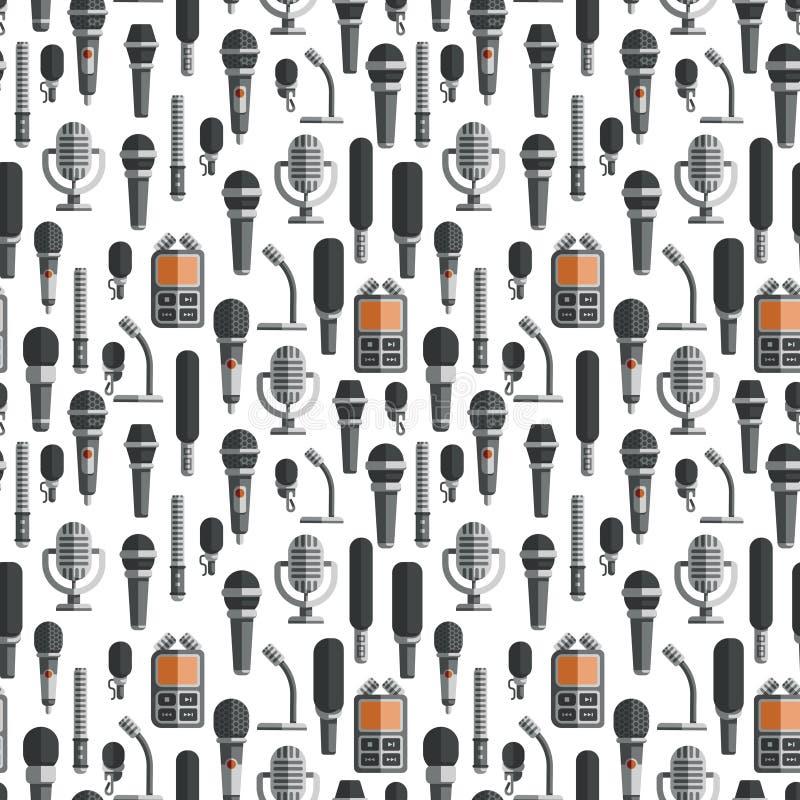 Modèle sans couture plat de microphones et de dictaphones illustration stock