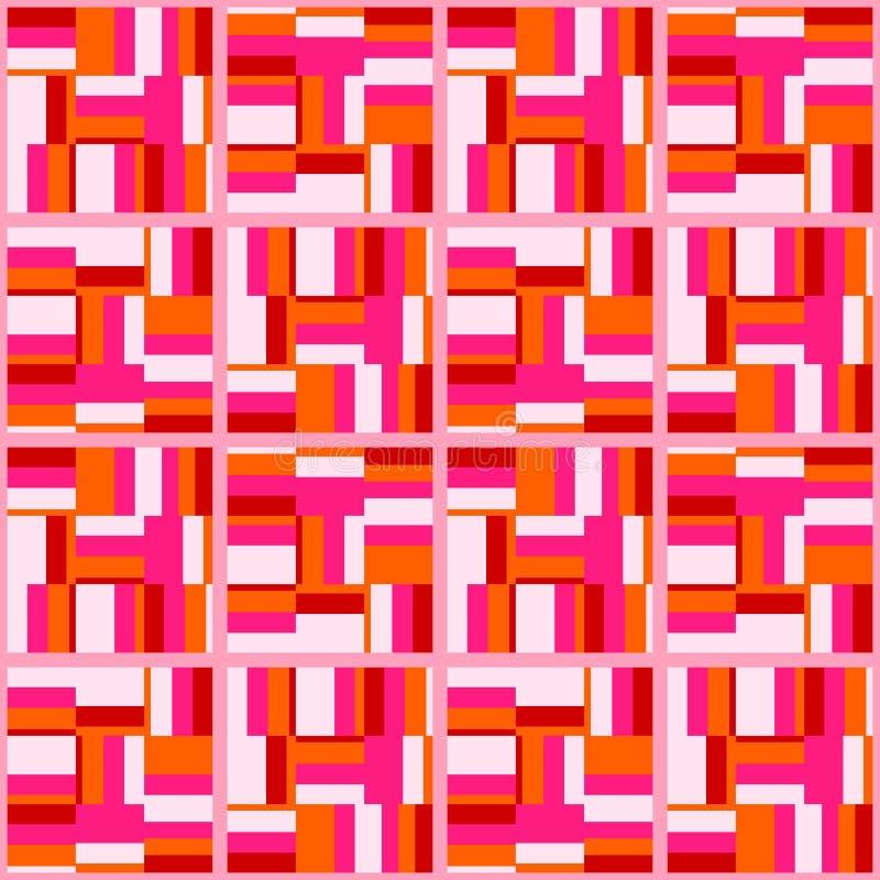 Modèle sans couture plat de résumé rétro avec des rectangles Ornement simple intemporel de vecteur illustration libre de droits