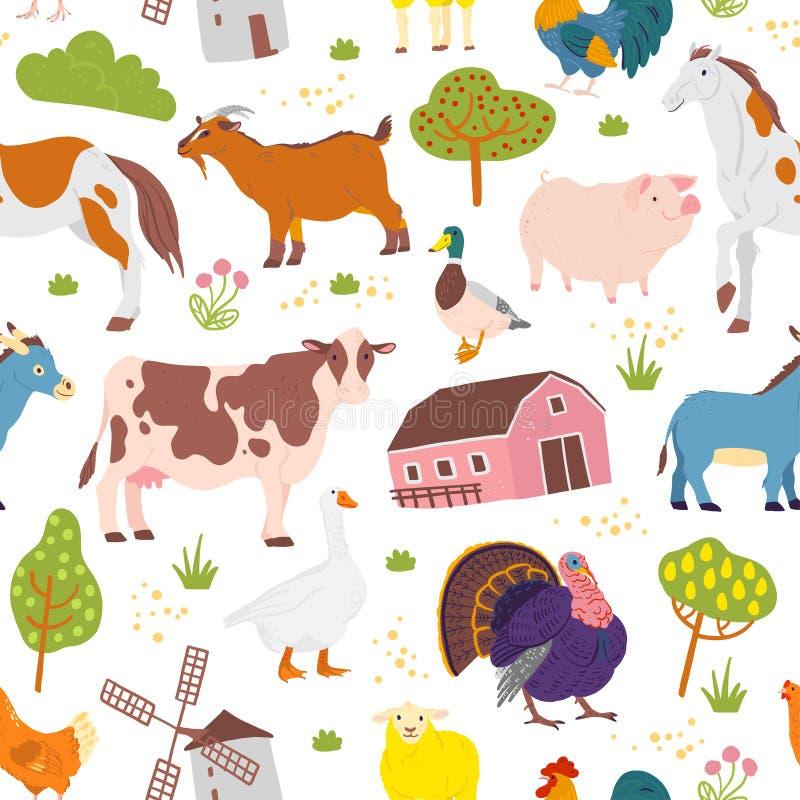 Modèle sans couture plat de vecteur avec les animaux domestiques de ferme tirée par la main, arbres, oiseaux, maison d'isolement  illustration stock