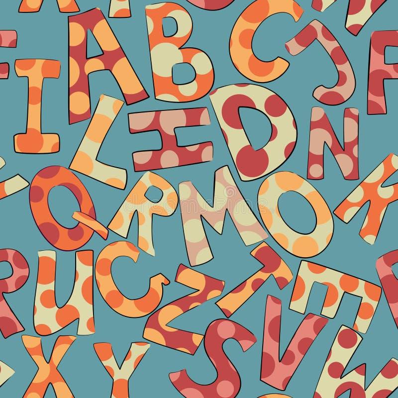 Modèle sans couture pointillé drôle de lettres illustration de vecteur
