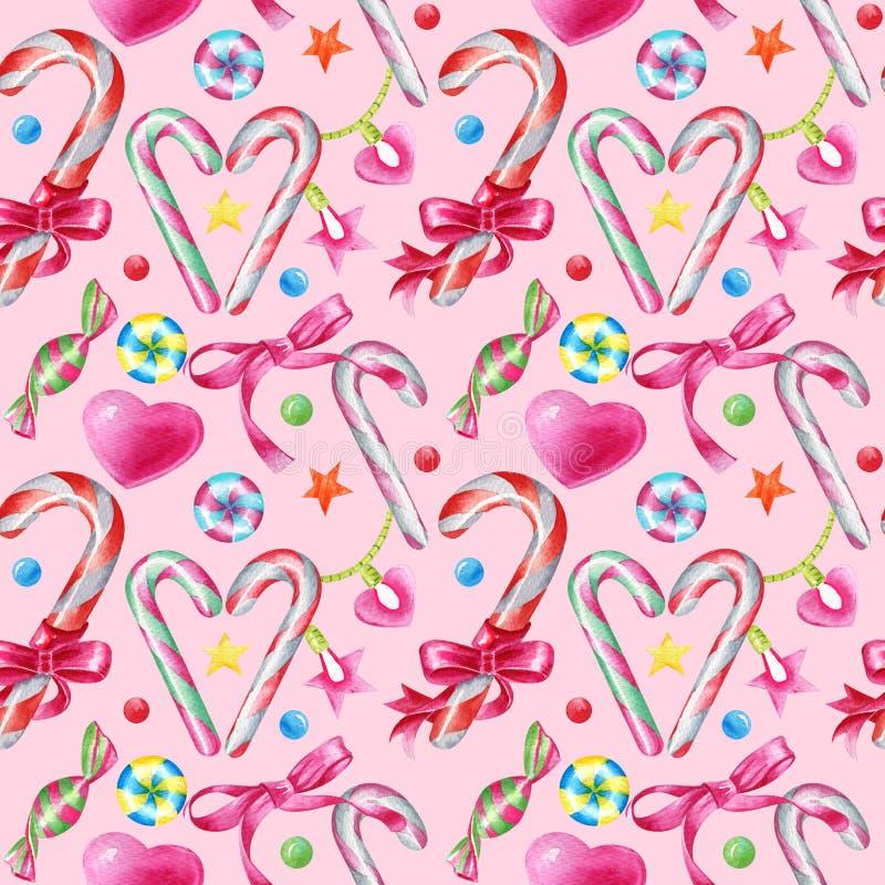 Modèle sans couture pour aquarelle avec des sucreries, des lucettes, le coeur et des étoiles sur un fond rose illustration libre de droits