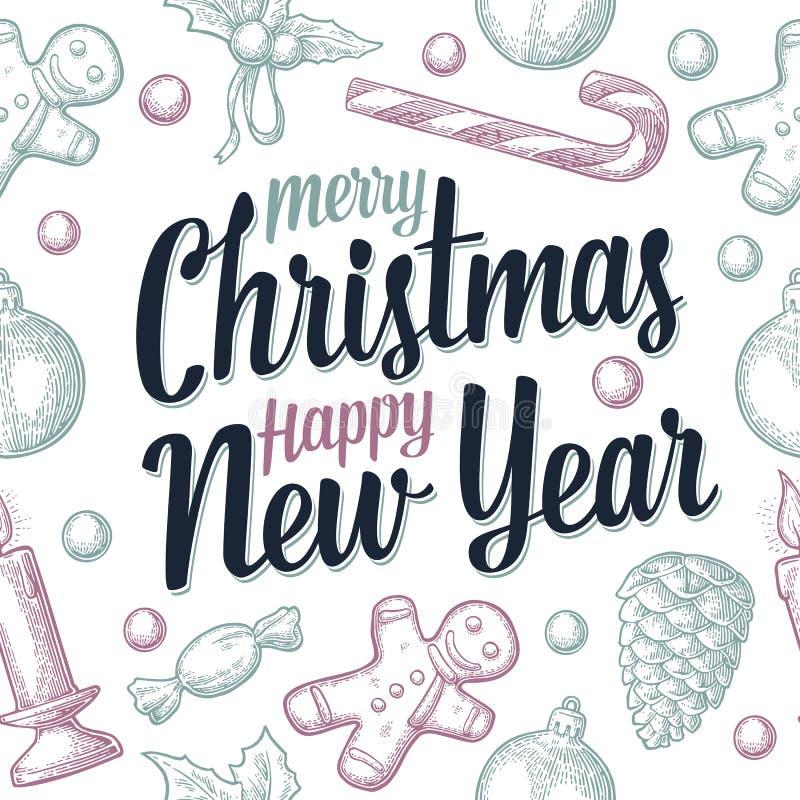 Modèle sans couture pour l'affiche de Joyeux Noël et de bonne année illustration stock
