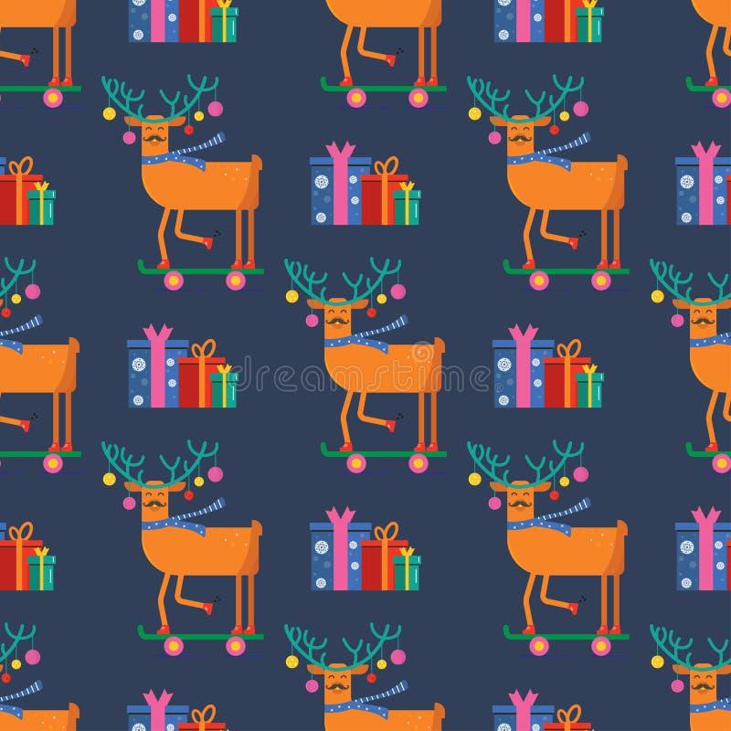 Modèle sans couture pour la carte de voeux de Joyeux Noël avec l'ani mignon illustration libre de droits
